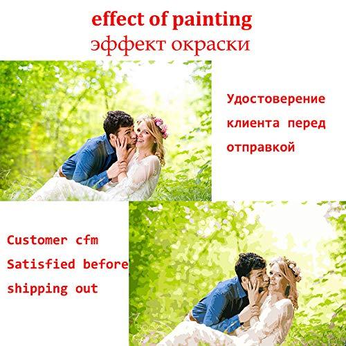 Superlucky Passen Sie Ihr Foto DIY Nummer Malerei Custom Geschenk Leinwand Malen Malen nach Zahlen Portrait Coloring by Numbers Rahmenlose 50x70cm