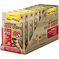 Gimdog superalimentos Meat Cubes | gefriergetrockneter Mono proteína Snack para Perros | Gallina Combina con cranb Fresas y Romero (Pack DE 8, 8x 40g)