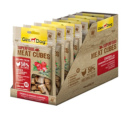 GimDog Superfood Meat Cubes Hühnchen mit Cranberries und Rosmarin, Hundesnack mit hohem Fleischanteil und Mono-Protein, Leckerlie ohne Zuckerzusatz, 8 Beutel (8 x 40 g)