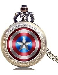 Reloj de Bolsillo de Cuarzo con diseño de Escudo del Capitán América para Hombres, con Colgante de Estrella y pequeño Reloj de Bolsillo