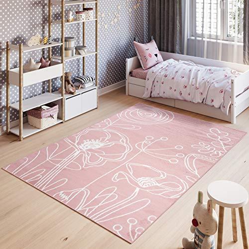 Tapiso Pinky Teppich Kurzflor Kinderteppich Kinderzimmer Pink Rosa Weiß Pastellfarben Modern Blumen Floral Spielteppich ÖKOTEX 180 x 250 cm (Moderne Teppich Blumen)