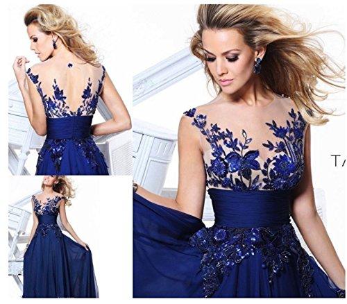 SHUNLIU Damen Spitze Abendkleid 2017 Elegant festlich Blumenstricken Rückenfrei Partyskleid Cocktailkleid Chiffon Faltenrock Langes Hochzeitskleid Blau Blau