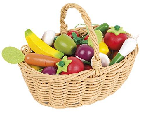 Preisvergleich Produktbild Janod Holzspielzeug - Früchte- Gemüsesortiment im Korb Obst Gemüse Kaufladen Markt 24 Teile - 22 x 15 x 16 cm, Mehrfarbig