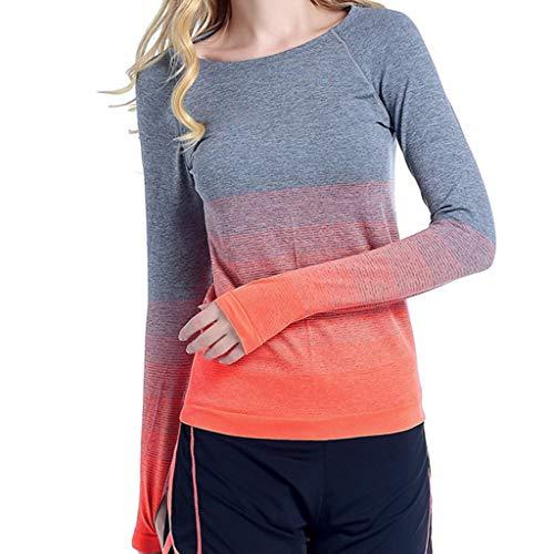 CAOQAO Damen ' Schrittweise Farbe Sport Damen' Laufen Schnell Trocken Yoga Kleidung Fitness Tops(M,Orange) (Kiss Kostüm Kinder)