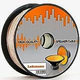 Lokmann 25 Meter 2 x 4,0 mm² Lautsprecherkabel CCA-Kupfer Transparent PVC- Dielektrikum Speaker Hifi Boxen Cable (25m, 2x4mm)