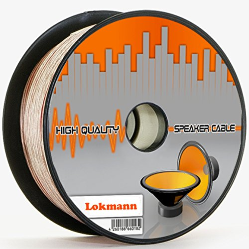LOKMANN 25 Meter 2 x 4,0 mm² Lautsprecherkabel CCA-Kupfer Transparent PVC- Dielektrikum Speaker HiFi Boxen Cable (25m, 2x4mm)