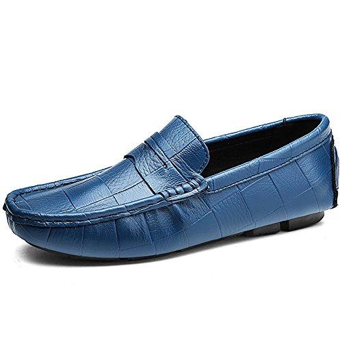 Vilocy uomo casuale guida barca scarpe piazza goffratura morbido pelle scivolare su mocassini blu,46