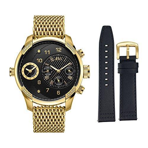 JBW hombre j6355-setb G3mundo viajero conjunto 0.16ctw 18K chapado en oro diamante de acero inoxidable reloj