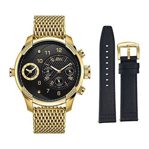 JBW Men's J6355-SetB G3 World Traveler Set 0.16 ctw 18k Gold-Plated Stainless-Steel Diamond Watch