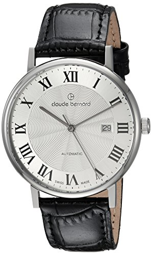 claude bernard Men's Analog Swiss-Automatic Watch with Leather Strap 80102 3 AR