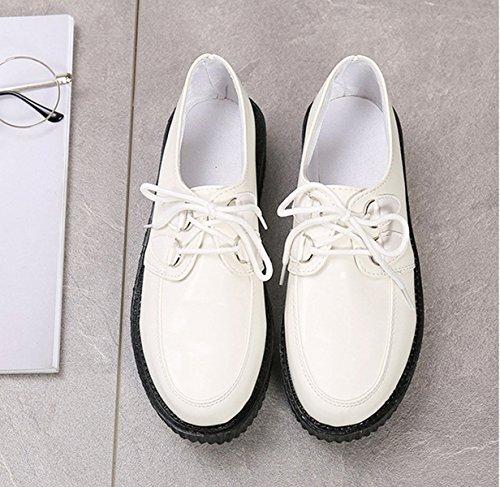 Damen Schnürhalbschuhe mit dicken Sohlen Textil Klassische Leichte Bequeme Flache Lässige Atmugnsaktive Modische Damen Halbschuhe Schwarz,Weiß
