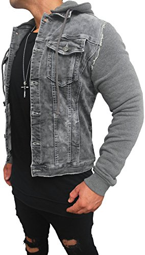 Kapuzen Jeansjacke Denim Jeans Jacke Kapuzenjacke Hoodie Herren Grau black biker motorrad Designer Blouson Sweat men leather flieger wende piloten jacket black slim fit NEU New (2XL, Grau)
