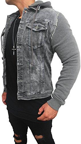 Kapuzen Jeansjacke Denim Jeans Jacke Kapuzenjacke Hoodie Herren Grau black biker motorrad Designer Blouson Sweat men leather flieger wende piloten jacket black slim fit NEU New (XL, Grau)