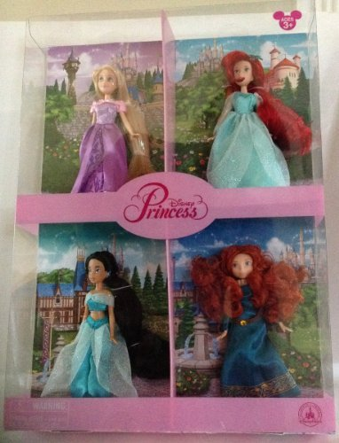 incess Doll Set of 4Rapunzel Jasmine Ariel Merida New by Disney ()