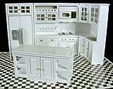 Puppenhaus Miniatur 1:12 Maßstab Modern weißes Holz Einbau Küchenmöbel Set