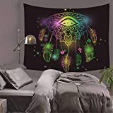 JhyHome Hippie Indien Tapestry Decor Indienne Wall Hanging Murale Plumes Lumineuses Douces,Confortables et Respirantes,150x170cm