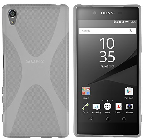 kazoj Schutzhülle Sony Xperia Z5 Hülle im X-Design aus TPU in transparent schwarz