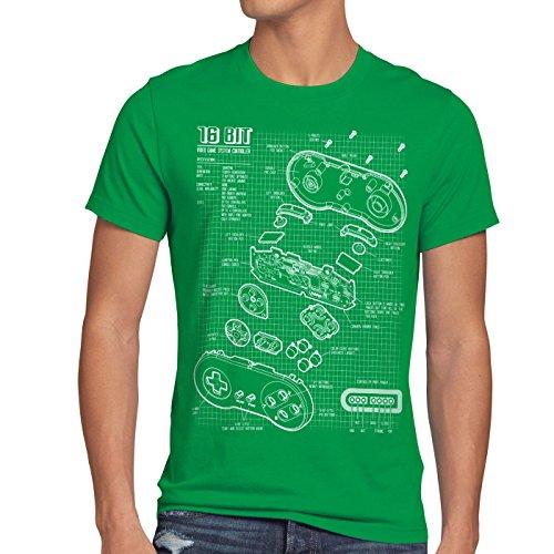 style3 SNES Controller Blaupause Herren T-Shirt 16-Bit Videospiel, Größe:XL;Farbe:Grün