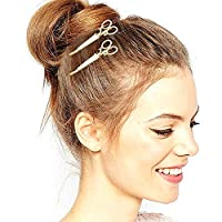Gold Plated Q&Q Fashion Pack of 2 Scissors Dressmaker French Updo Hair Dress Snap Barrette Pin Clip