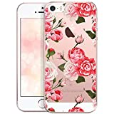 OOH!COLOR Bumper Compatible pour iPhone 5, iPhone 5S Coque iPhone Se Silicone Transparente à Motif Souple Etui Soft Case Ultra Slim Fine Cover Roses Emballage JETABLE