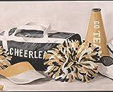 York Wallcoverings Cheerleader Pom Pom Tasche Schuhe Cup Baton Merigold schwarz weiße Sport Wallpaper Border Retro-Design, Roll-15' x 10,25 ''