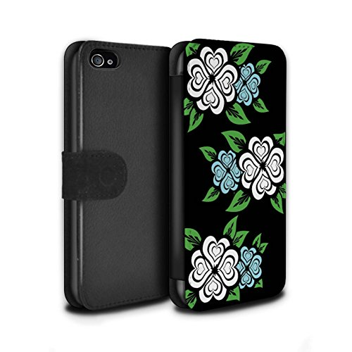 Stuff4 Coque/Etui/Housse Cuir PU Case/Cover pour Apple iPhone 4/4S / Turquoise/Jaune Design / Roses Coeur Amour Collection Blanc/Turquoise
