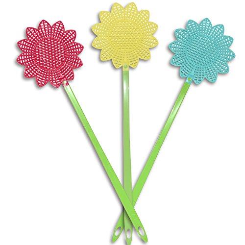 (660) 3er Set Fliegenklatschen Blumen-Muster bunt Fliegenfalle Fliegenschläger Mückenschläger
