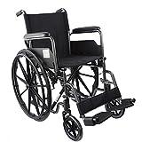 Rollstuhl, Premium Faltrollstuhl, Transferrollstuhl, Leichtgewichtrollstuhl mit Fußstützen und abnehmbaren Armlehnen, Elegantes Design, Vollgummiräder, Sitzbreite 40 cm, Modell S220