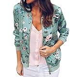 YWLINK Damen Retro Blumen Reißverschluss up Bomber Jacke Casual Mantel Outwear Sweatshirt Oberteil (L,Grün)
