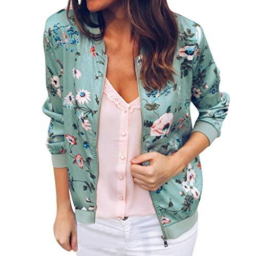 YWLINK Damen Retro Blumen Reißverschluss up Bomber Jacke Casual Mantel Outwear Sweatshirt Oberteil (M,Grün) - Retro-sweatshirt