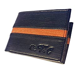 Ayush Pure Luxuries Genuine 8 Card Mens Leather Wallet (Black with Brown Peace)