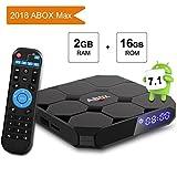 Android TV Box 7.1 Amlogic 64 Bits Bluetooth Réel 4K*2K 3D, 2GB RAM 16GB ROM 2018 Smart Box Quad Core, WiFi 2.4Ghz GooBang Doo ABOX A1 Max
