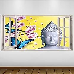 EXTRA GRANDE Religión Buda blanco de vinilo 3D Póster - Mural Decoración - etiqueta de la pared -140cm x 70cm