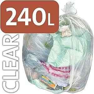 Alina, sacchetti per la spazzatura da 240 l in polietilene trasparente resistente, per bidone della spazzatura con ruote, sacco compattatore ENSA, 3 sacks