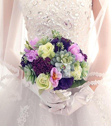 Yxhflo Emulation Blume Blumen Hochzeit Kunst Brautsträuße, Sukkulenten Pflanzen Grün Lila Blume Platyodis Graue Pappteller Und Servietten