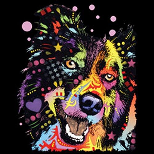 Damen Tanktop mit buntem Hunde Motiv - Border Collie - Hundebild - Geschenk für alle Tierliebhaber und Hundefans - schwarz Schwarz