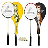 #3: Guru Karbon BR03 COMBO-03 Badminton Racket Set Pack of Two With Two Cover & 3 Shuttlecock Size: 27 inch