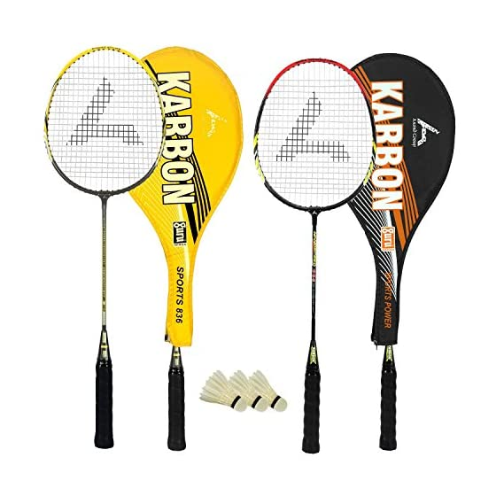 Guru Karbon BR03 COMBO-03 Badminton Racket Set Pack of Two with Two Cover & 3 Shuttlecock Size: 27 inch