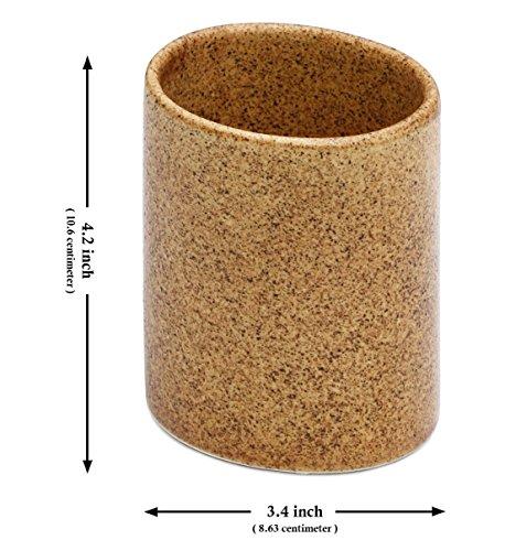 SouvNear Zahnbürste Halter - 10,6 cm - braun - handgefertigt in keramisch...