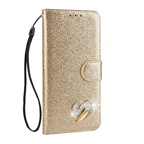 Galaxy S9 Plus Case [Free Tempered Glass Screen Protector],Mo-Somnus Luxury Bling Glitter Sparkly [Loving Heart Diamond] Design Wallet Case [Stand Function] Cover for Samsung Galaxy S9 Plus (Gold)