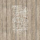 Pannello murario disegno di rivestimento in legno con scritta bianca decorata. Riviera Maison 30601