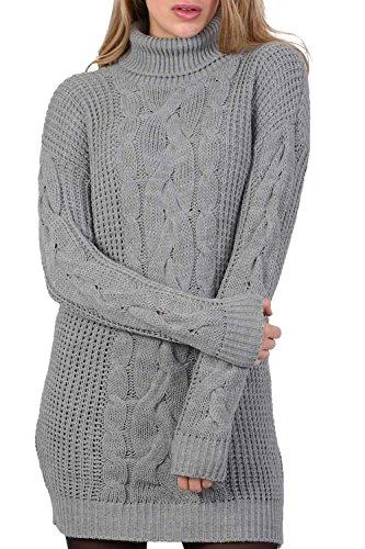 PILOT® Zopfmuster lange Ärmel Rollkragen Pullover Kleid in hellgrau, größe One Size (Strumpfhosen Kabel-pullover)