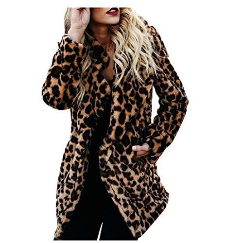 Braune Strickjacke Pullover (BHYDRY Frauen warme Winter Bluse Sweatshirt Damen Leopardenmuster Pullover Jacke(EU-44/CN-S,Yellow))