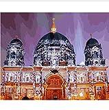 Alemania Berlín Catedral Ciudad Vista Nocturna Diy Colorear Por Números Decoración De Pared Pintura 50X60CM