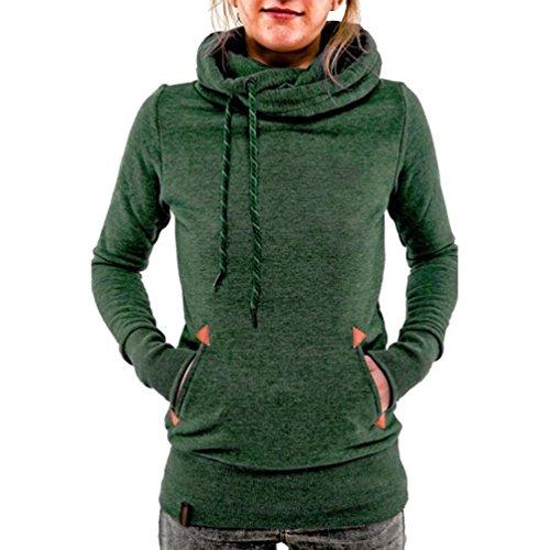Minetom Mujers Estilo Clásico Sudadera Gruesa Con Capucha Manga Larga Hooded Ocio Verde ES 40
