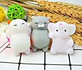 #9:  Squishy Toys (Pack of 3) Squishy Cat Toys Mochi Cute Squishy Toy Squeeze Stress Reliever for Kids/Adults (2 Squishy Cats + Elephant)