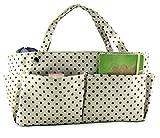 Periea Handbag Organiser, 14 Compartments - Tilly (Cream/Brown Dots)