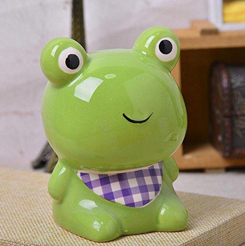 YOIL von schönen Möbel Dekoration Geld Bank Tiermodellierung Piggy Bank handgemachte Keramik Ornamente Kinder Belohnung (Grüner Frosch) -