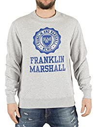Franklin & Marshall Hombre Sello de la camiseta de gráfico, Gris