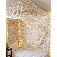 Tapiz de mandala india para colgar en la pared de todo el mundo de color dorado y dorado para decorar las dormitorios, decoración étnica, manta de arte para el hogar, cama, tamaño doble, 85 x 55 cm, colcha individual para yoga, esterilla de picnic